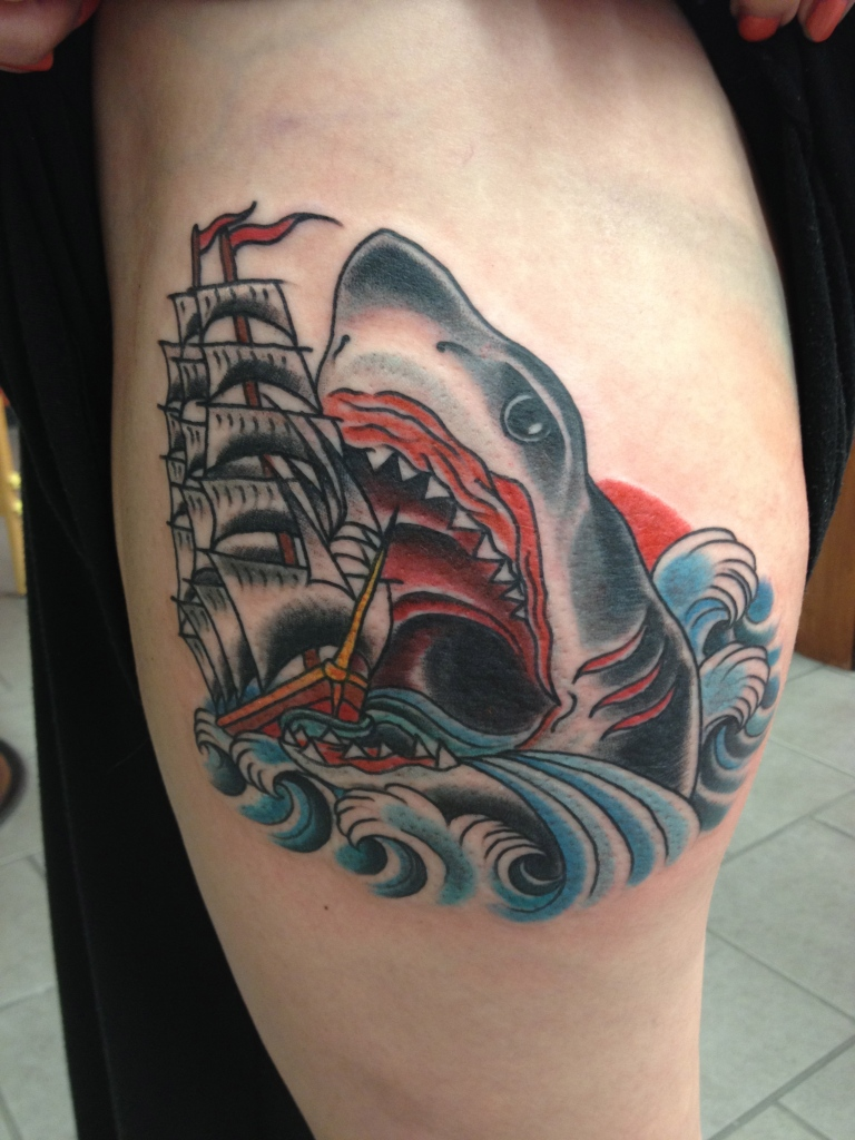 Shark Ship Tattoo