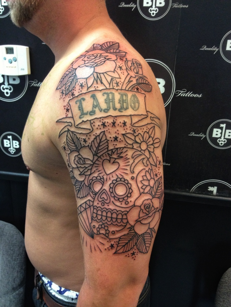 Fun sugar skull half sleeve